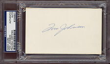 HOF TOM JOHNSON PSA DNA AUTOGRAPH AUTO SIGNED NM INDEX CARD MONTREAL CANADIENS