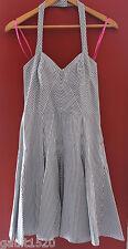 NEW! Betsey Johnson Retro Striped French Blue White Halter Smocked Dress 8 $189