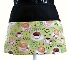 Unisex diners waiter waitress Apron with 3 Pockets deco retro coffee cups lime