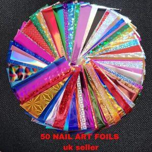 50 x Nail Foils - Mixed Nail Art Transfer Foil Wraps Decal Glitter Stickers UK!