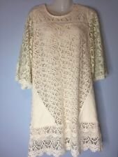 Anthropologie Champagne & Strawberry Blush Ivory Crochet Lace Dress Medium M
