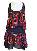 Bettina Liano Size 8 Flared & Ruffled A Line Mini Dress Black Red Blue Pink Poly