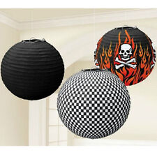ROCK ON SKULL AND FLAMES PAPER LANTERNS (3) ~ Birthday Party Supplies Decorate