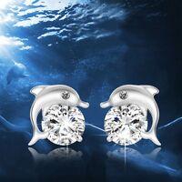 Lovely Dolphin Earrings Silver Plated Jewelry Crystal Eye Ear Stud Zircon