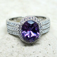 CHARMING 2.5 CT OVAL AMETHYST PURPLE 925 STERLING SILVER RING SIZE 5-10