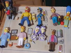The Simpsons' Playmates World Of Springfield  Figure And Playset Lot