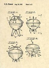 Official Weber Grill US Patent Art Print- Barbeque BBQ Charcoal Propane Gas 343