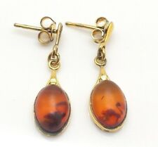 Fine Oval Poland Amber Gold Dangle Sterling Silver 925 Earrings 2g Y3574