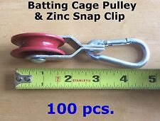 100pcs Pulleys & 100pcs Zinc Carabiner Snap Clips Netting Baseball Batting Cage