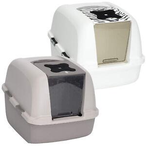 Catit Jumbo Hooded Cat Pan Litter Box Tray Warm Grey / White Tiger Pattern