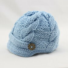 Handmade Knitting Beanie Hat Newsboy Toddler boy baby 0-3 3-6 6-12 month Blue
