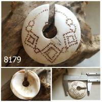 OLD Etched Tribal NAGLAND Tibet Nepal Conch Shell Hand Carved Bead Pendant #8179