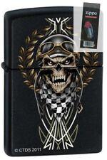 Zippo 7289 race skull black matte Lighter + FLINT PACK