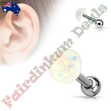 316L Surgical Steel Tragus/Cartilage Stud with White Glitter Opal Dome Top