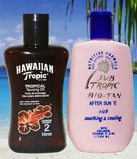 HAWAIIAN TROPIC SPF 2 TROPICAL TANNING OIL & AFTER SUN 2 BOTTLES TANNING LOTION