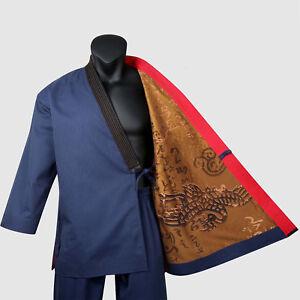 Premium Taekwondo Grandmaster Suits Mooto Geum Gang Navy Uniform Dobok Open Wrap