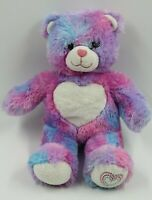 "Build a Bear Workshop Pink Purple Heart Plush Stuffed Bear 16"""
