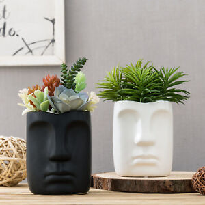 4-inch Face Design Ceramic Succulent Pots Flower Vase, Black and White, Set of 2