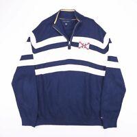 Vintage TOMMY HILFIGER Blue Striped Quarter Zip Knitted Jumper Mens Size XL
