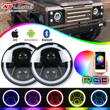 "7"" inch LED Headlight W/Bluetooth RGB Hi/Lo Beam For Land Rover Defender 90/110"