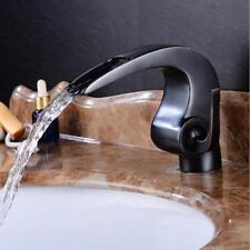 Black Polished Bathroom Basin Faucet Bath Tub Mixer Waterfall Spout Deck Mounted
