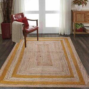 Rug 100% natural jute braided handmade reversible carpet Living Modern area rug