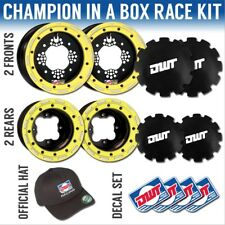 """DWT Yellow Champion in a Box 10"""" Front 9"""" Rear Dual Beadlock Wheels CanAm DS 450"""