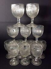 12 Antique EAPG Bellflower Flint Glass Goblets