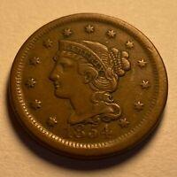 1854USA 1 Cent Crisp Details A13