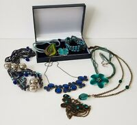 Costume Jewellery Bundle x 7 Blue Tone Pieces Items Mixed Lots Resell Re-Wear