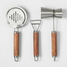 Project 62 Stainless Steel and Wood Barware Tools Set * 3 piece * NEW for Target