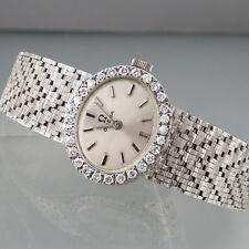 Omega Damenuhr mit ca. 1,40ct Diamanten in 750/18k Weißgold - Handaufzug