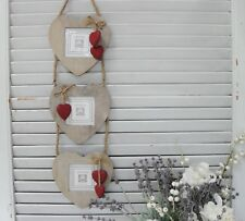 Rustic Triple Photo Frame with Red Hearts,Grey Wood,  Country Style Home Decor
