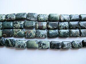 Natural kambaba jasper rectangle beads 10x15mm. Natural healing stone beads. 8''