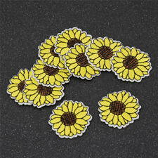 10Pcs Yellow Sunflower Patches Iron on Patch Embroidered Applique Sewing CrSRK7G