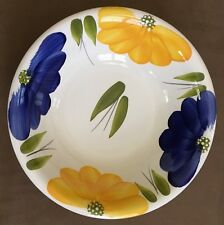 "Maxam Italian Daisy Made In Italy Floral Hand Painted 10 1/4"" Serving Bowl EUC"