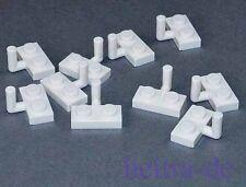 LEGO - 10 x Platte weiss 1x2 mit Haken / White Plate with Arm Up / 88072 NEUWARE