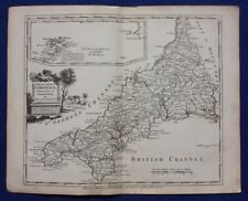 Original antique county map CORNWALL, J.Ellis, De La Rochette, c.1765