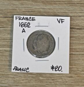 1852 A France 1 Franc Silver Coin, VF Condition