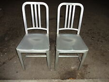 2 Genuine Emeco Aluminum Navy Chairs 1006