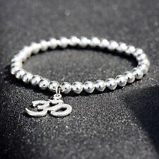 Fashion Buddha OM Lotus Pendant Silver Copper Beads Yoga Reiki Bracelets Gifts
