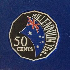 2000 50 cent Proof coin - Millennium Year Flag - ex Proof set in 2 x 2