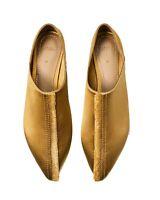 Zara Gold Satin Frayed Arabian Flats Slippers Size 6.5 EU 37 NWT