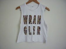 WOMEN'S WRANGLER WHITE RESORT MUSCLE SINGLET TOP W/ PRINT ON FRONT SIZE 8 - NWT