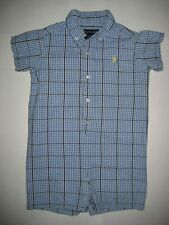 RALPH LAUREN baby boys one piece SS ROMPER XL 18-24m Blue black check CUTE! $35