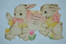 "CUTE Vintage Antique 1937 Easter Bunnies 5.5""x4"" Greeting Card RARE HALLMARK"