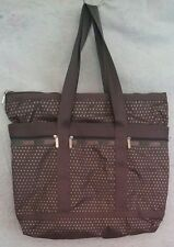 LeSportsac Large Tote Gray With Orange Metallic Polka Dots Bag With Makeup Bag