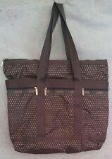 LeSportsac Large Tote Gray With Orange Metallic Polka Dots Bag With Makeup Bag