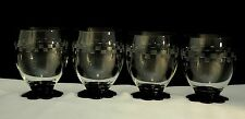 Lot Set 4 Weston Glass Petal Foot Cocktail Glasses With Deco Cutting