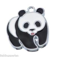 10 Silberfarbe Emaille Panda Anhänger Perlen Beads 23*20mm